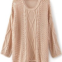 Pink Round Neck Long Sleeve Hollow Striped Sweater - Sheinside.com