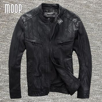 Black genuine leather jacket coat men 100% lambskin motorcycle jackets chaqueta moto hombre veste cuir homme cappotto LT976