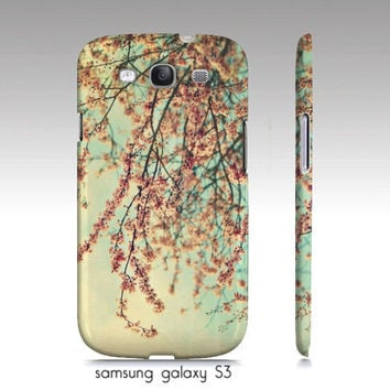 "iphone 4,4s, 5, Samsung galaxy case, ""take a rest"" cherry blossoms, aqua sky, pink flowers, floral-shabby chic photography"