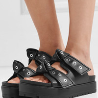 Alexander McQueen - Eyelet-embellished knotted leather platform slides