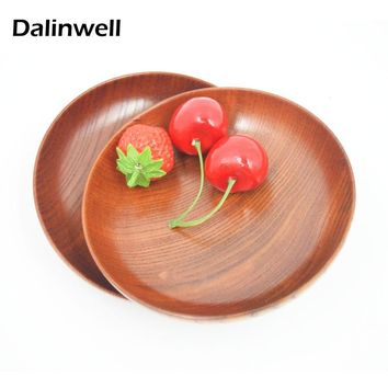 "2 PCS 5"" Japanese Creations Wooden Fruit Dessert Servies Dish Prato Round Wood Food Sweets Coffee Dinner Plates Tray Tableware"