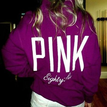 pink victoria s secret pattern letter print zipper v neck hoodie top blouse sweatshirt pullover sweater