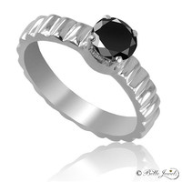2.00 ct Black diamond  ring in 14 K White Gold-size as per request