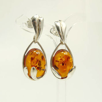 Sterling Silver 925 Baltic Amber Earrings