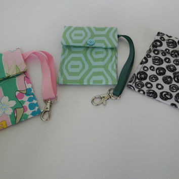 Mini Wristlet Wallet Selection of 3  Choose your Print Small Clip Case