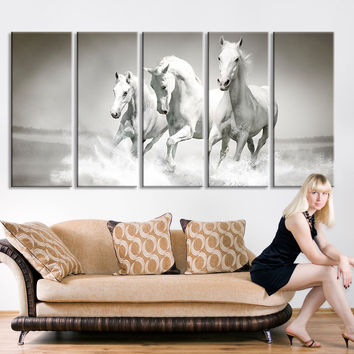 Extra Large Wall Art Horse - Oversize Art Wild Horses Canvas Print - Large Art Wild Animal Wall Canvas Print