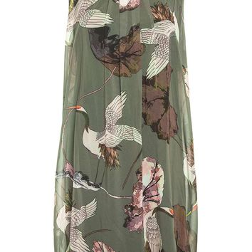*Quiz Khaki Bird Print Shift Dress