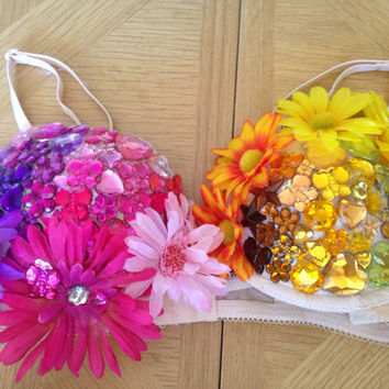 Custom bejeweled rave music festival bra