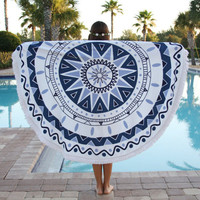 150cm European Style Polyester Fiber Beach Yoga Towel Round Bed Sheet Tapestry Tablecloth