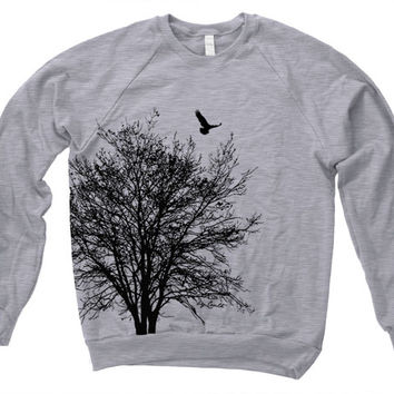 TREE Sweatshirt Hand Screen Print American Apparel Fleece Raglan Sweatshirt Longsleeve Available S M L XL