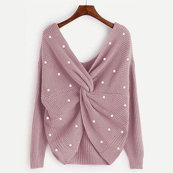 RWL Boutique - Pearl Beading Twist Infinity Sweater Sweet Ladies Long Sleeve Pullover - Rose