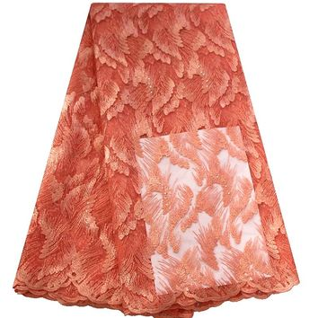 Beautiful tulle lace embroidery nigerian lace fabrics  high quality french lace african fabric