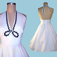 Beautiful Cotton or Flowy Polyester Halter Dress...Your CHOICE Colors...Summer Cool...Bridesmaids, Prom, Wedding, Cocktails, Party...