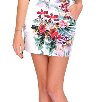 Tropical Vibe Mini Skirt - White Print