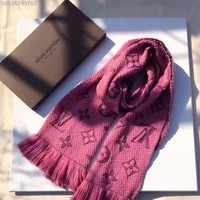 Louis Vuitton Fashion Print Woman Men Fashion Cashmere Warm Cape Scarf Scarves Rose Red G