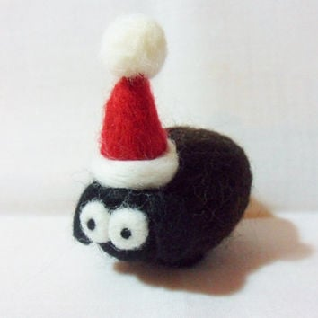 Needle Felted Christmas Sheep - Christmas Ornament - merino & shetland wool - needle felted black sheep - wool felt sheep