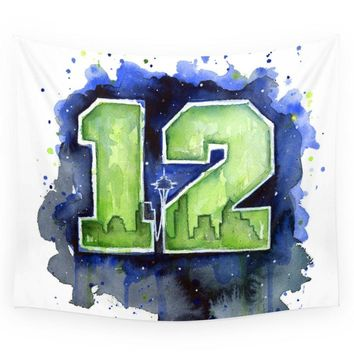 Mandala Tapestry 12th Man Seahawks Seattle Go Hawks Art Printed Wall Hanging Tapestry Room Bohemian Home Decor Beach Towel