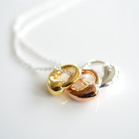 Triple Ring Necklace in Sterling Silver Rose Gold and by Flost