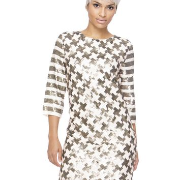 HELIX SEQUIN SHIFT DRESS - NUDE