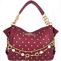 Bling! Gold Tone Rhinestone Studded Purse w/ Embellished Chain Accent Maroon