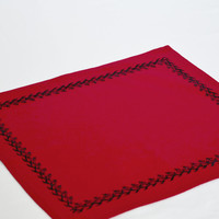 Red placemats with jet black embroidery  Handmade floral mats Cloth placemat Valentine placemats valentine gift table- Set of 4