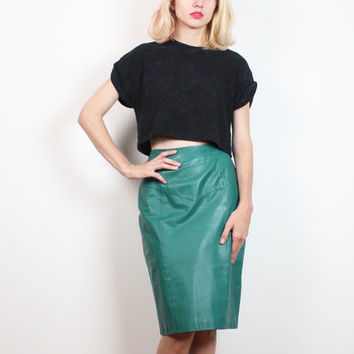 Vintage 1980s Skirt Dark Green Leather Skirt High Waisted Skirt Mod New Wave Pencil Skirt 80s Fitted Bodycon Skirt Midi Tulip Skirt S Small