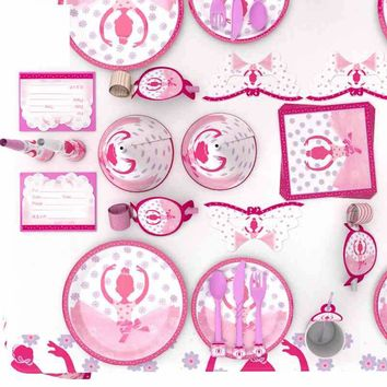 Pink Ballet Princess Party Birthday Decoration Tableware Children Kids Baby Girls / 16 options