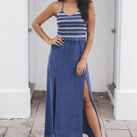 Stand By Her Denim Blue And White Maxi Dress