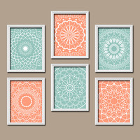 Wall Art Kitchen Bedroom Bathroom Mandala Flower Canvas Artwork Custom Colors Aqua Peach Botanical Set of 6 Dahlia Flower Petal Bloom Decor