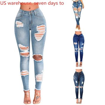 Women Denim Skinny Ripped Pants High Waist Stretch Destroy Hollow Out Jeans Slim Pencil Trousers Fashion Street Clothes