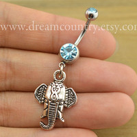 Elephant Belly Button Rings,elephant Navel Jewlery,lucky belly button ring,elephant belly ring, Christmas gift