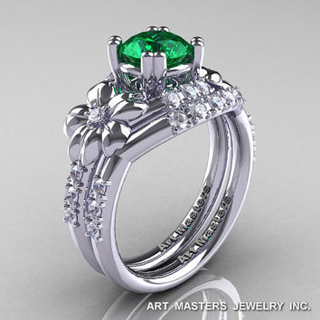 Nature Inspired 14K White Gold 1.0 Ct Emerald Diamond Leaf and Vine Engagement Ring Wedding Band Set R245S-14KWGDEM