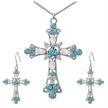 Women Choker Jesus Flower Christian Religion Jewelry Crystal Cross Pendant Necklaces Earrings Sets
