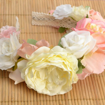 Headband with flowers made of foamiran White Peonies