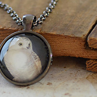 Snowy Owl Necklace, White Owl Pendant, Snow Owl Charm, Owl Jewelry, Woodland Jewelry (503)