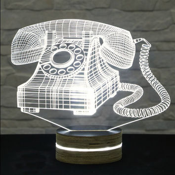 3D LED Lamp, Vintage Telephone Shape, Decorative Lamp, Home Decor, Table Lamp, Office Decor, Plexiglass Art, Art Deco Lamp, Acrylic Light