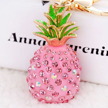 Novelty Green Pink Pineapple Rhinestone Pendant Keyring Charm Trinket For Women