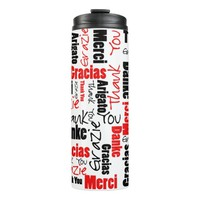 Black and Red Thank You Word Cloud Thermal Tumbler