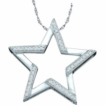 10kt White Gold Women's Round Diamond Star Outline Pendant 1-10 Cttw - FREE Shipping (US/CAN)