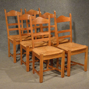 Oak Chairs Set 6 Kitchen Dining Country Quality Ladderback Rush Seating 20th Century
