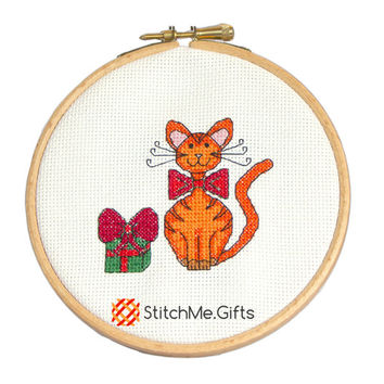 Christmas Cat Cross Stitch Pattern 'Oh My Sparkly' PDF Instant Download