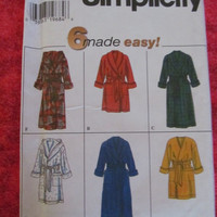 Spring Fever Sale UnCut Simplicity Sewing Pattern, 7417! Size XS to Medium, women's or Men's, Robes, Bath Robes, Accessory