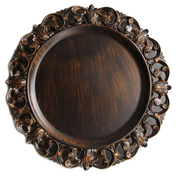 """Brown Emboss Charger Plates 14"""", Set of 4, Serving Plates & Platters"""