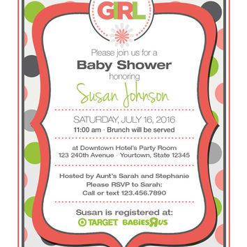 "4"" x 5"" Flower Baby Girl Shower Invitation on Card Stock or Photo Paper"