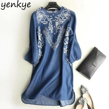 Terence Denim Dress O Neck Three-Quarter Sleeve Floral Embroidery