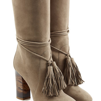 Suede Boots with Tassels - Burberry | WOMEN | KR STYLEBOP.COM
