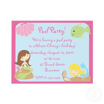 KRW Cute Mermaid Pool Party Invitations from Zazzle.com