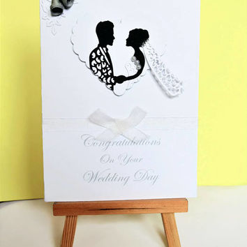 Wedding card, wedding day card, on your wedding day, congratulations card, handmade card, greeting card, mr and mrs card, congrats card