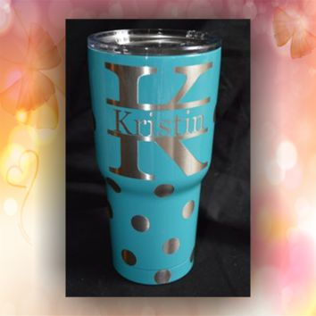 Polka Dots Monogram - STAINLESS STEEL MUG - glitter dipped or painted - coffee mug - tumblers