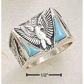 Sterling Silver Ring:  Men's Reconstituted Turquoise Eagle Ring